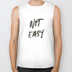 Not Easy Biker Tank by villaraco Tanks, Tank Tops, Biker, How To Look Better, Tank Man, Easy, Cotton, Stuff To Buy, Shirts