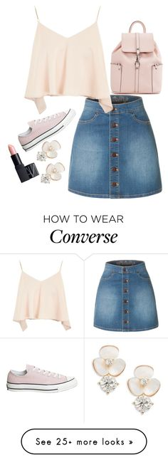 """#736"" by anna-siegl on Polyvore featuring LE3NO, Topshop, Converse, Kate Spade and NARS Cosmetics"