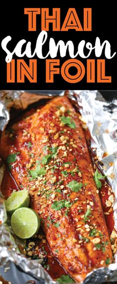 Salmon in Foil Thai Salmon in Foil - The flavors are sealed right into a foil packet with no clean up! The salmon comes out so tender/juicy. Sure to be a family favorite! Salmon Recipes, Fish Recipes, Seafood Recipes, Asian Recipes, Dinner Recipes, Cooking Recipes, Healthy Recipes, Thai Salmon Recipe, Thai Food Recipes Easy