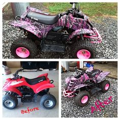 Little girl's 50cc ATV customized with Hydrographics - Muddy Girl Camo pattern. Anything can be transformed with Hydrographics!  Find us on Facebook/alexandersgeneralstore