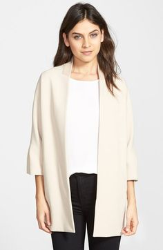 Ellen Tracy 'Lady' Double Weave Open Front Coat (Regular & Petite) available at #Nordstrom
