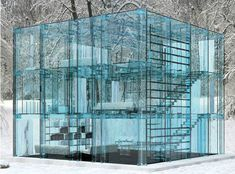 Completely glass house. Might make a great getaway home in a place this isolated!