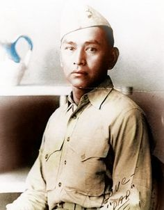 John Sells (1915 - 2007) was a Navajo Code Talker during WWII. Nearly 60 years passed between the time John Sells, of Shiprock, served as a Navajo Code Talker and the day he told his family he was one of the select group. B/W Photo Colourised by Pearse