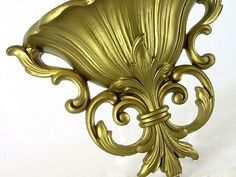Vintage French Wall Sconce Hanging 1960s Golden Rococo-Style Planter Homco. $15.00, via Etsy.