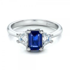 Custom Blue Sapphire and Diamond Engagement Ring Platinum Ring 2 Diamonds - .55 ctw Clarity: VS2 - Color: F-G