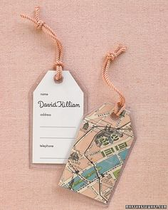 Help guests find their seats by offering personalized luggage tags that make a functional keepsake. Print labels with lines for name, address, and phone number onto card stock (use the insert that comes with the tags as a template). Calligraph guests' names. Slip tag and decorative paper backing into the plastic cover. Loop cording through hole at top, and hang on chairs. Calligraphy by Nancy Howell.