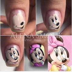 Trendy Nails Disney Designs Art Tutorials in 2020 Cartoon Nail Designs, Nail Art Designs Videos, Nail Art Mickey, Disney Acrylic Nails, Disney Nails Art, Minnie Mouse Nails, Mickey Mouse Nail Design, Nail Drawing, Nailart