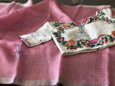 onion pink linen saree with designer blouse from teja sarees Saree Blouse Patterns, Designer Blouse Patterns, Sari Blouse, Linen Blouse, Saree Dress, Fancy Blouse Designs, Blouse Neck Designs, Teja Sarees, Checks Saree