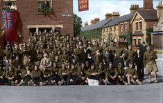 This photograph captures the scene outside the Gordon Arms, Castle Road, Bedford one sunny summer afternoon in 1914. Argyll and Sutherland Highlanders enjoying their off duty time in the company of local people.