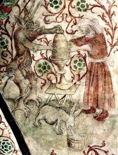 back from milking someone else's cow, the wiitch's 'milk hare' vomits the stolen milk into a wooden bowl. Detail of wall-painting at Osmo, Sodermanland, Sweden, painted c.1470 by Albertus Pictor.