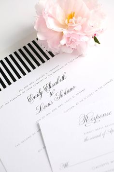 Vintage black and white striped wedding invitations. Love the classic and elegant look!