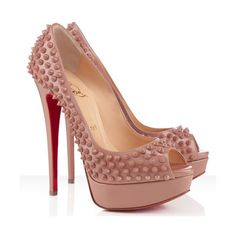 Christian Louboutin Lady Peep Spikes 140mm Patent Leather Pumps Nude ❤ liked on Polyvore featuring shoes, pumps, sapato, patent pumps, peep-toe shoes, nude patent pumps, patent leather peep toe pumps and christian louboutin shoes