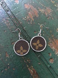 4e3850e1b08e hand made Louis Vuitton circle earrings bezel set Louis Vuitton Louis  Vuitton earrings LV monogram
