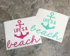 YETI DECAL  Life's A Beach Anchor Decal  by BecauseYoureUniqueFL
