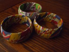 Three Hand Made Material Bangle Bracelets by PAULIE22 on Etsy, $5.95