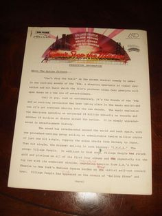 "An authentic 1980 ""CAN'T STOP THE MUSIC"" MOVIE PRESSKIT. 27 PAGE PRODUCTION INFORMATION. I personally was presented this presskit in Producer Allan Carr's office in. Besides the 18 photographs, this presskit includes the following. 
