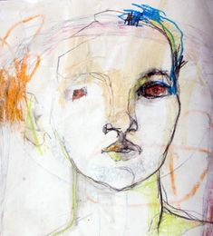 [found on La Maison Boheme] Strong marks. I love it when a lot is left unsaid, when the unfinished parts leave it to the audience to fill in the blanks. L'art Du Portrait, Abstract Portrait, Figure Painting, Painting & Drawing, Art Visage, Abstract Faces, Art Et Illustration, Inspiration Art, Art Design