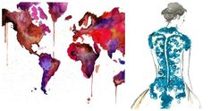 via Centsational Girl:Watercolor is en vogue again, and Jessica Durrant of Atlanta, Georgia does exceptional work.  I'm especially drawn to her series of multicolored world maps.