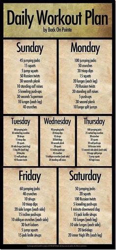 daily - weekly workout plan