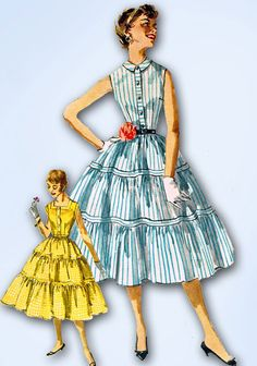 1950s Vintage 1955 Simplicity Pattern 1082 Misses Sun Dress Size 12 Uncut!