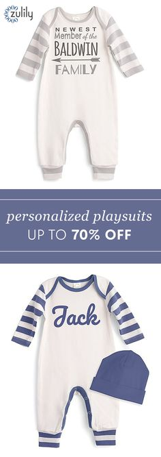 Sign up to shop personalized playsuits up to 70% off.  Get pieces that capture just how special your latest arrival is with this precious, personalized apparel.