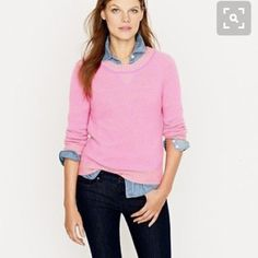J.Crew Plaited Sweatshirt Excellent condition j.crew sweater. Hot pink! Stock photos to show style. Size small. Super soft. So cute layered...Smoke free, clean home. J. Crew Sweaters Crew & Scoop Necks