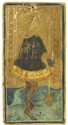 The Ortiz-Patiño Tarot Card, with the Page of Staves, illuminated miniature on card [northern Italy (probably Milan), mid-fifteenth century] | Lot | Sotheby's