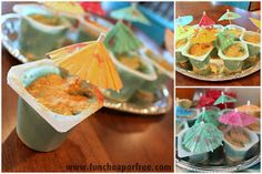 ocean/beach themed pudding cups- vanilla, blue food coloring, graham cracker crumbs, little umbrellas Ocean Party, Summer Pool Party, Beach Party, Kids Birthday Themes, Birthday Fun, Birthday Stuff, Birthday Parties, Fiesta Party, Luau Party