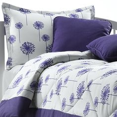 Purple Dandelion Bedding with Matching Pillow Sham and Laundry Bag. Made in the USA by American Dorm and Home. #home #bedding #madeinusa #americanmade #dorm #dormroom via BuyDirectUSA.com Like - Share - Repin