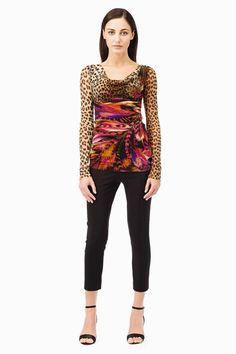 Leopard Printed tulle top cowl neck. Long sleeve.