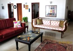 For the Love of Sunshine Corners: Home Tour - Aparna Sanjay wooden seating Indian Home Interior, Indian Interiors, Ethnic Home Decor, Indian Home Decor, Living Room Designs, Living Room Decor, India Decor, Indian Homes, Asian Decor
