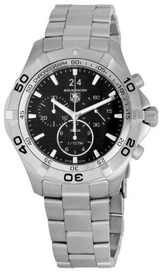 TAG Heuer Men's CAF101EBA0821 Aquaracer Black Dial Watch TAG Heuer. $1549.99. Quartz movement. Water-resistant to 984 feet (300 M). Stainless-steel case. Scratch-resistant sapphire crystal. Case diameter: 44 mm. Save 26%!