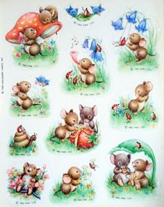 VTG HALLMARK 80s Sticker Sheet Mice Snails Ladybugs Mushrooms Flowers