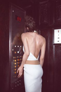 Oyster 99: Shalom Harlow + Thierry Mugler dress. Photography: Cass Bird. The 69th floor? Very funny...