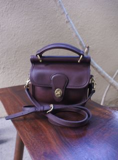 Vintage Chocolate Brown Leather Mini Willis or Winnie Bag, Small Coach Satchel Purse with Long Cross Body Strap and Top Handle