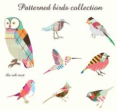 Clip Art  Patterned Birds Collection  for commercial by theinknest