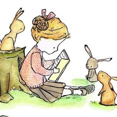reading to the rabbits