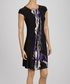 Take a look at the Samuel Dong Black & Purple Crepe-Panel Cap-Sleeve Dress on #zulily today!
