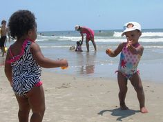 """Makayla and her bestie, Shaelyn (""""Kay Kay & Shay Shay"""") getting their groove on at the beach. There was no music anyone else could here, by the way"""