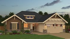 Home Plan HOMEPW77331 - 1445 Square Foot, 3 Bedroom 2 Bathroom Craftsman Home with 2 Garage Bays | Homeplans.com