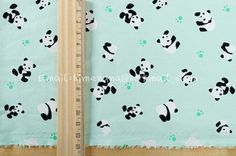 xm010B/P - 1 Yard Cotton Fabric - Panda and Footprint - Cream (W140). $9.00, via Etsy.
