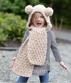Knitting PATTERN-The Ziyon Hooded Scarf 12/18 months