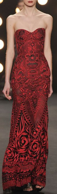 Naeem Khan Fall 2014 - red and black strapless gown