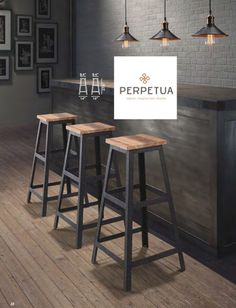 Rustic wood bar with industrial stools and paper pendants for Muebles de bar para casa