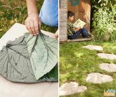 Com folhas de taioba e cimento dá para fazer um caminho no jardim.