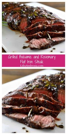 Grilled Rosemary and Balsamic Steak is the perfect, easy summer meal! Grilled flat iron steak topped with a balsamic, red wine, rosemary and garlic reduction.