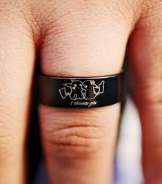 Pokemon Ring, Pokemon Jewelry, I Choose You, Tungsten Carbide Rings, Engraved Gifts, Wedding Bands, Wedding Ceremony, Custom Engraving, Fashion Rings