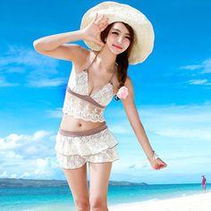 2013新款韩版时尚泳衣 三角蕾丝裙式比基尼三件套泡温泉泳衣3006-淘宝网
