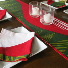 Quilted table runner * Marimekko table runner * Christmas table runner * Marimekko napkins * holiday table * red green fabric table runner by Plumdacity on Etsy