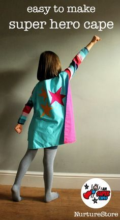 Sewing For Kids Easy Easy super hero cape tutorial - support I Am Super Capes children's organisation. - An easy super hero cape tutorial - quick to make, fun costume for kids pretend play. Sewing Projects For Kids, Sewing For Kids, Diy For Kids, Dress Up Costumes, Cool Costumes, Halloween Costumes, Costume Ideas, Halloween Halloween, Vintage Halloween